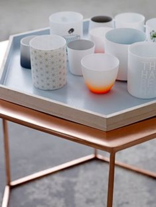 bloomingville tablett sechseckig hellblau. Black Bedroom Furniture Sets. Home Design Ideas
