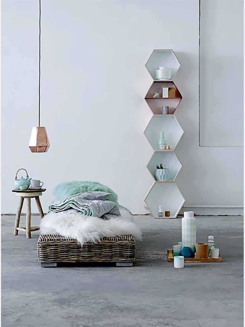 bloomingville regal sechseck kupfer. Black Bedroom Furniture Sets. Home Design Ideas