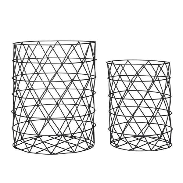 aufbewahrungsk rbe zylindrisch schwarz 2 teilig. Black Bedroom Furniture Sets. Home Design Ideas