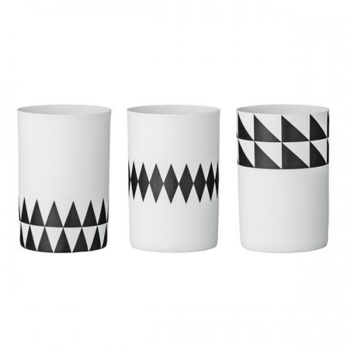 bloomingville teelichthalter rautenmuster schwarz wei 3 teilig. Black Bedroom Furniture Sets. Home Design Ideas
