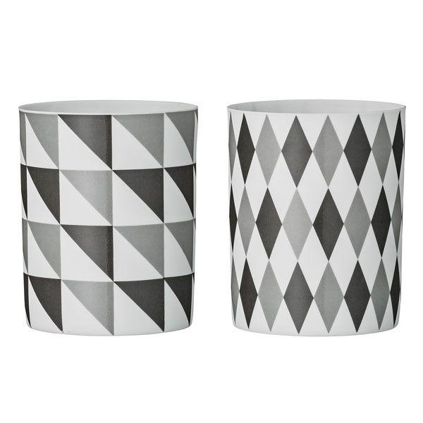 bloomingville teelichthalter rautenmuster schwarz grau 2 teilig. Black Bedroom Furniture Sets. Home Design Ideas