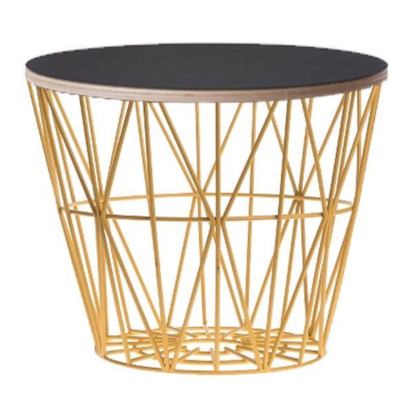Beistelltisch metall gelb  Ferm Living Beistelltisch Basket Gelb-Schwarz Mittel