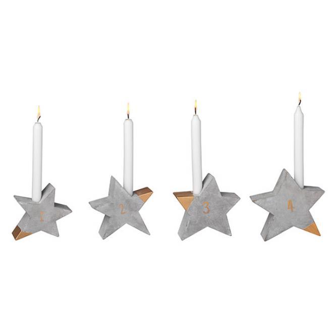 Räder Design Adventsleuchter Sterne Beton 4-teilig