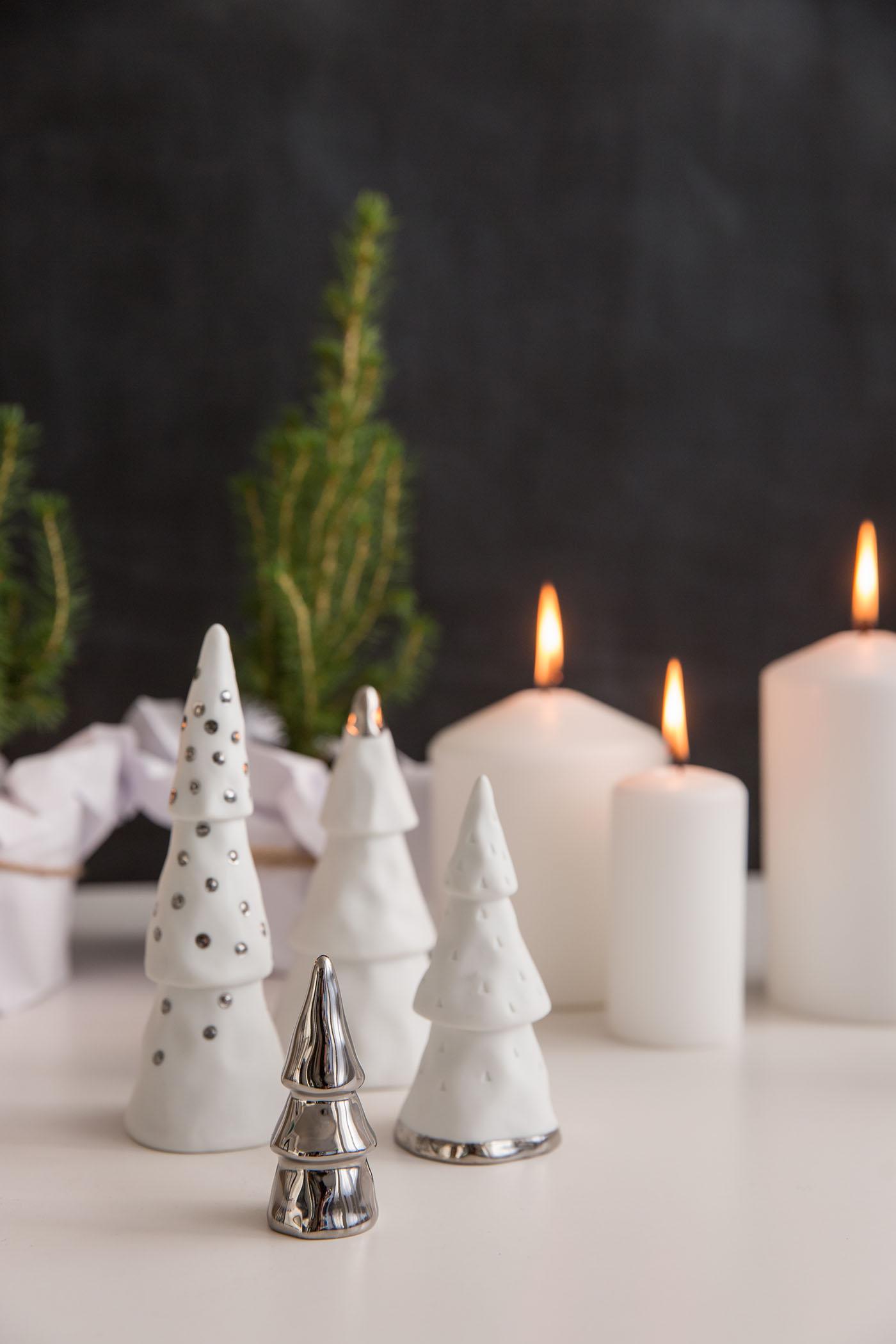dekoration weihnachtswald silber 4 teilig von r der design. Black Bedroom Furniture Sets. Home Design Ideas