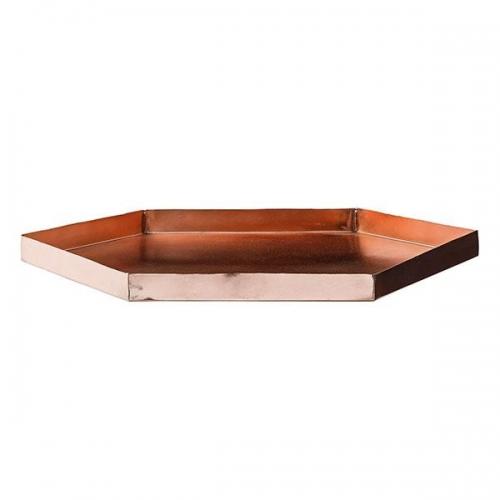 bloomingville tablett sechseckig kupfer. Black Bedroom Furniture Sets. Home Design Ideas