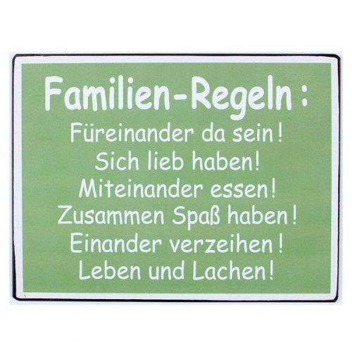 Metallschild Familien Regeln Von La Finesse