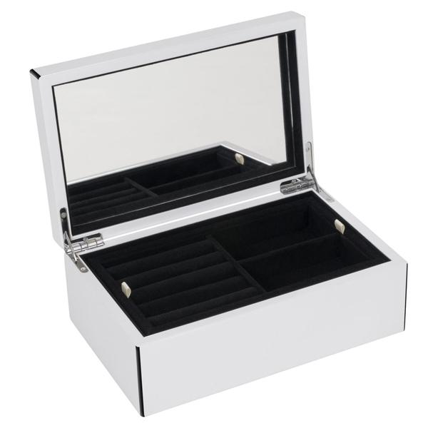 schmuckbox tang mit spiegel wei schwarz mittel von gift company. Black Bedroom Furniture Sets. Home Design Ideas