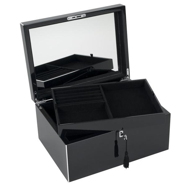 schmuckkasten schmuckbox neo tang mit spiegel und schloss schwarz wei. Black Bedroom Furniture Sets. Home Design Ideas