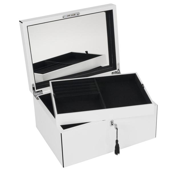 schmuckbox neo tang mit spiegel und schloss wei schwarz von gift company. Black Bedroom Furniture Sets. Home Design Ideas