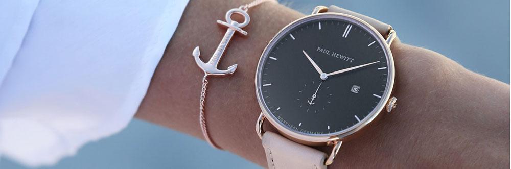 armbanduhr sailor line gold wei m leder haselnuss s. Black Bedroom Furniture Sets. Home Design Ideas