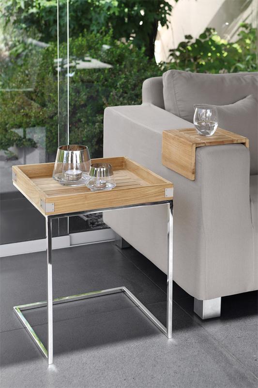tisch beistelltisch diego aus teakholz und edelstahl von fink. Black Bedroom Furniture Sets. Home Design Ideas