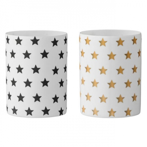 teelichthalter sterne schwarz gold 2 teilig von bloomingville. Black Bedroom Furniture Sets. Home Design Ideas