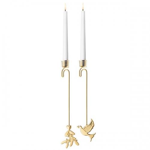 weihnachtsbaum kerzenhalter 2014 mistelzweig und taube gold. Black Bedroom Furniture Sets. Home Design Ideas