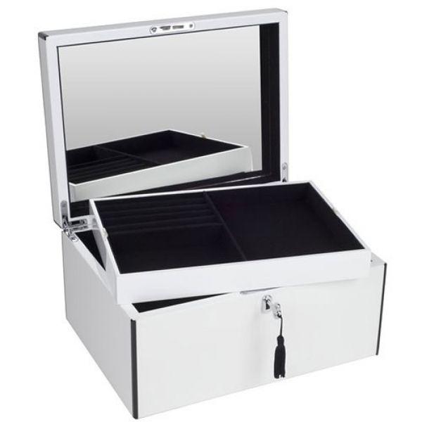 schmuckbox neo tang mit spiegel und schloss wei schwarz. Black Bedroom Furniture Sets. Home Design Ideas