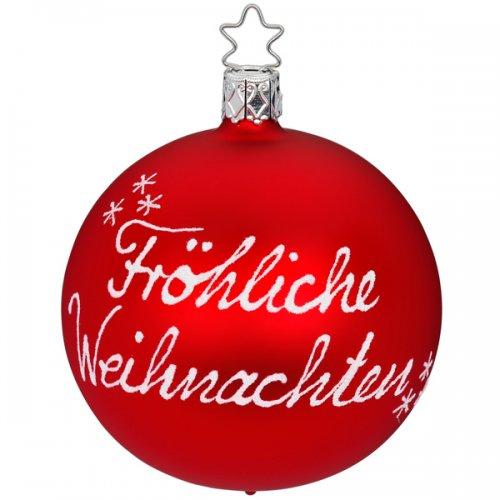 inge glas christbaumschmuck kugel frohe weihnachten rot. Black Bedroom Furniture Sets. Home Design Ideas