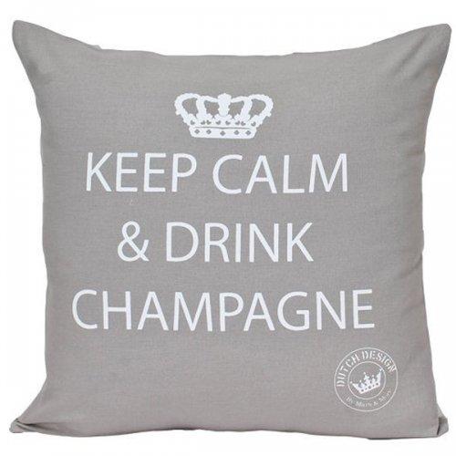 kissen keep calm and drink champagne grau von mars more. Black Bedroom Furniture Sets. Home Design Ideas