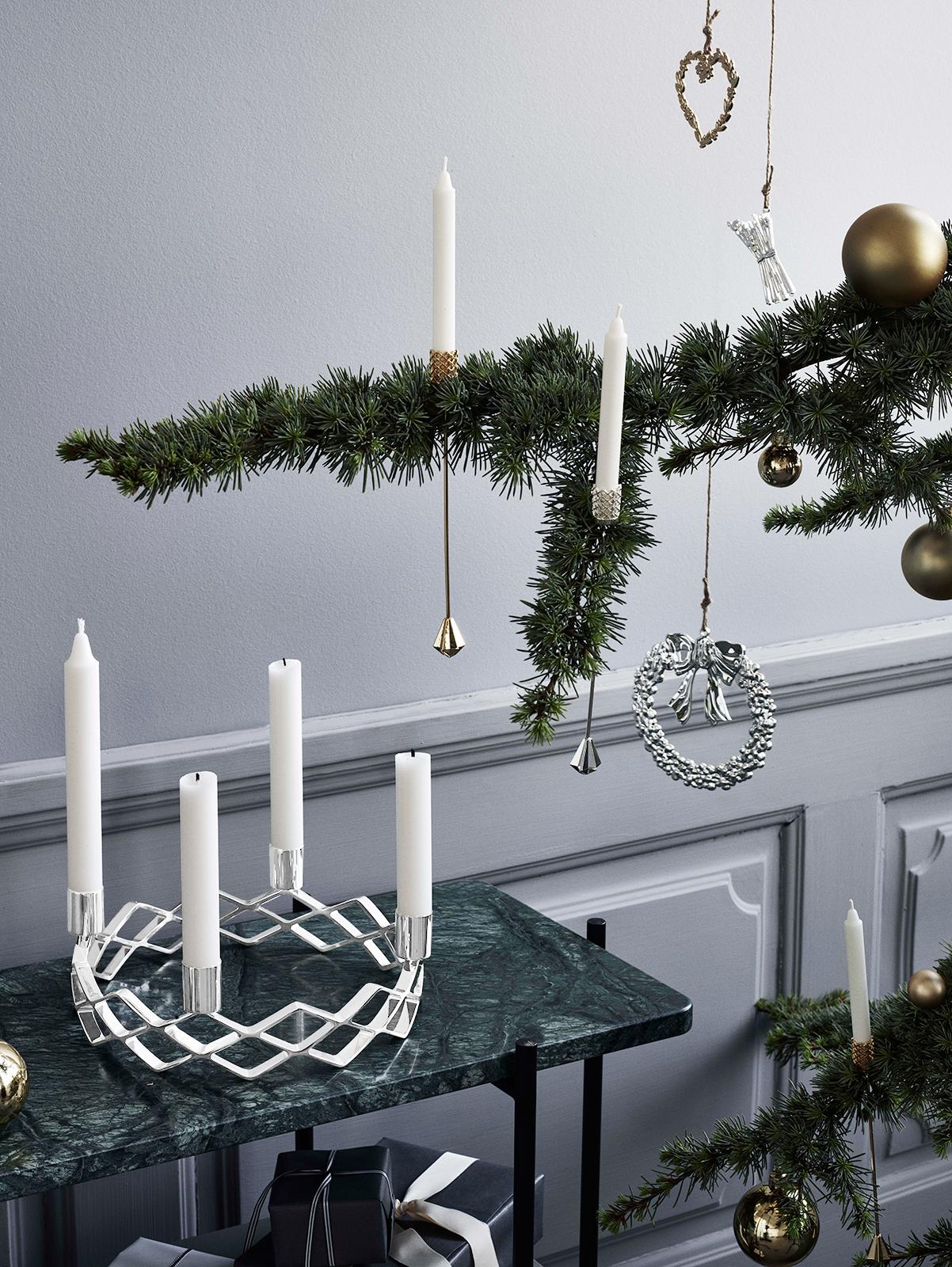weihnachtsbaum kerzenhalter silber von rosendahl bei erkmann. Black Bedroom Furniture Sets. Home Design Ideas