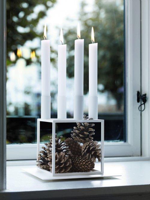 Wohnzimmer und Kamin kleine küche tisch : Kerzenleuchter Kubus 4 Weiu00df von by Lassen